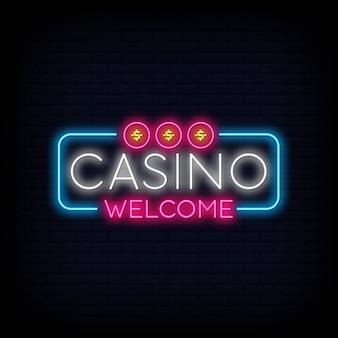 Efecto de letrero de neón de bienvenida de casino