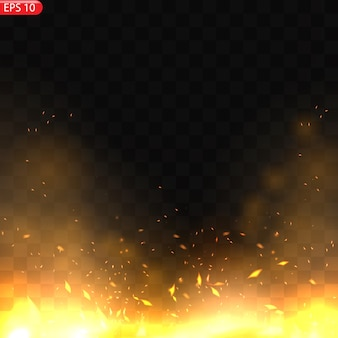 Efecto de llamas de fuego ardiente realista con transparencia