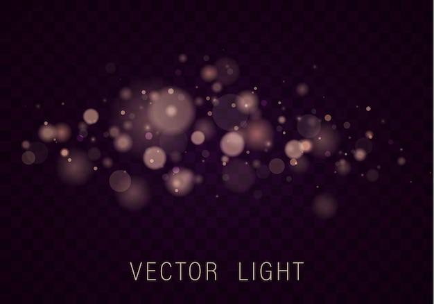 Efecto de luces bokeh brillante abstracto de luz de oro blanco amarillo aislado sobre fondo transparente fondo luminoso púrpura y dorado festivo concepto de navidad marco de luz borrosa vector