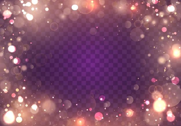 Efecto de luces bokeh brillante aislado sobre fondo transparente.