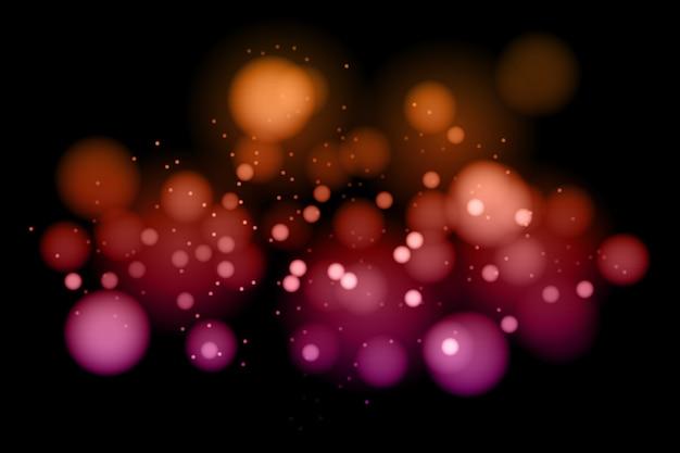 Efecto de luces bokeh en concepto de fondo oscuro