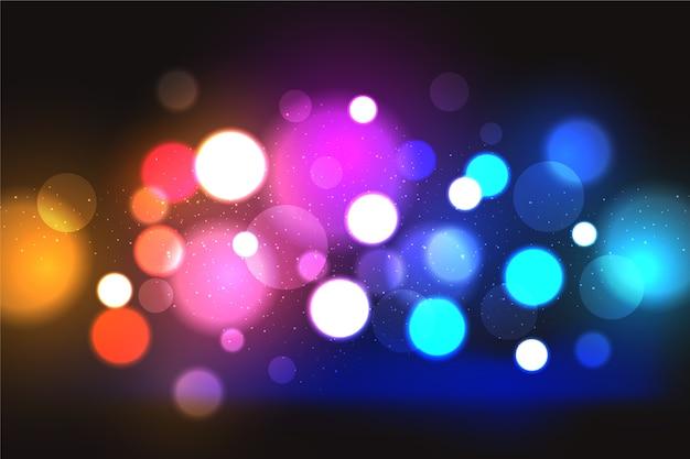 Efecto de luces bokeh con fondo oscuro