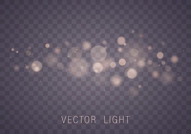 Efecto de luces de bokeh de luz blanca de oro amarillo brillante abstracto aislado sobre fondo transparente. fondo luminoso festivo púrpura y dorado. concepto. luz borrosa