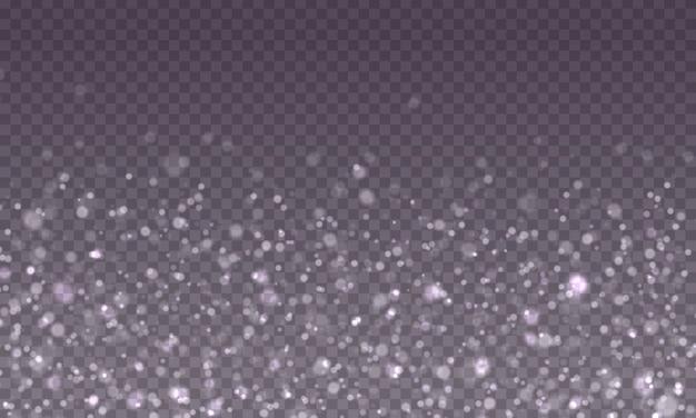 Efecto de luces bokeh sobre fondo transparente. efecto de luz especial de chispas blancas y purpurina. el polvo chispea y las estrellas brillantes brillan, brillan.