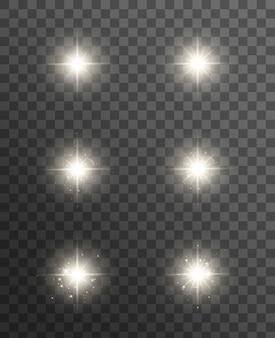 Efecto de luces brillantes, destellos, explosiones y estrellas. efecto especial aislado en transparente.
