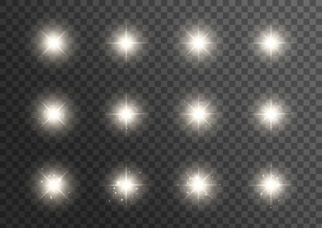 Efecto de luces brillantes. la estrella estalló con destellos. efecto especial aislado sobre fondo transparente. sol brillante transparente, destello brillante
