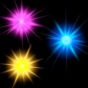 Efecto de luces brillantes. la estrella estalló con destellos.