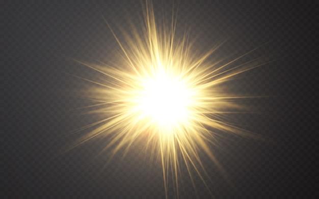 Efecto de luces brillantes rayos de luz de llamarada abstracta.