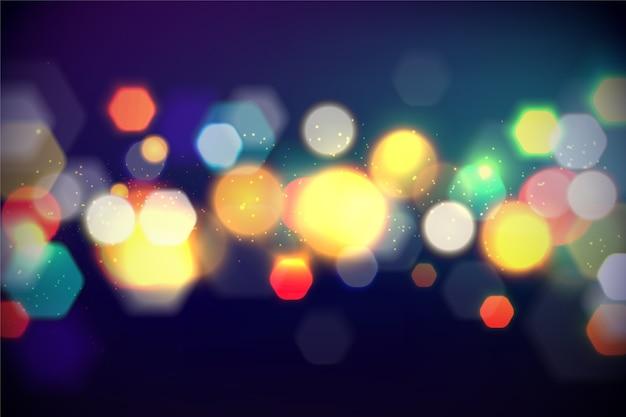 Efecto de luces brillantes sobre fondo oscuro