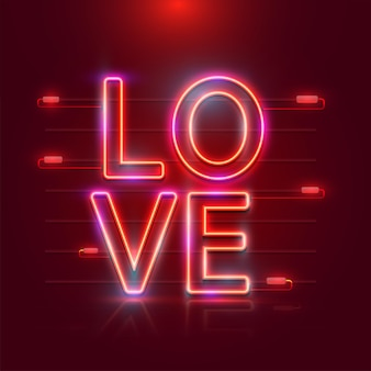 Efecto de luces de neón texto de amor sobre fondo rojo oscuro.