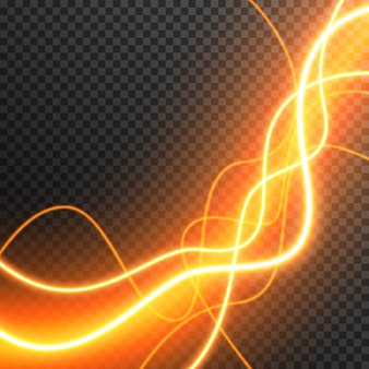 Efecto de luz abstracto ondas brillantes vector transparente
