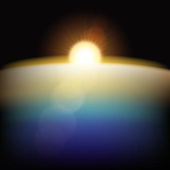 Efecto de luz de amanecer de tierra sobre fondo negro
