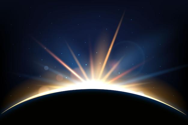 Efecto de luz del amanecer de la tierra