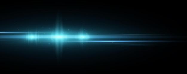 Efecto de luz azul futurista aislado sobre fondo negro. llamarada óptica. destello anamórfico. chispas incandescentes. flash brillante con luces abstractas. ilustración vectorial. eps 10.