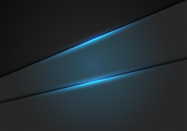 Efecto de luz azul sobre fondo de malla metálica hexagonal