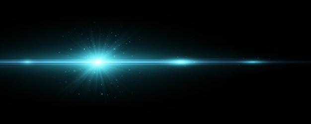 Efecto de luz azul sobre un fondo oscuro. destello de lente vectorial. explosión con chispas. destello brillante
