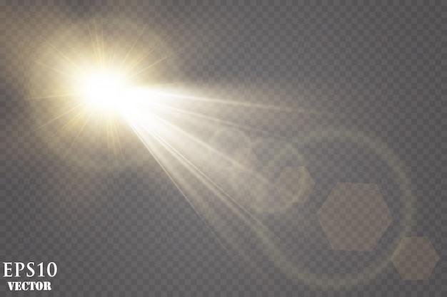 Efecto de luz brillante. efecto de luz de destello de lente especial de luz solar.
