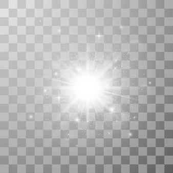 Efecto de luz brillante. estrella estalló con destellos. ilustración en fondo transparente