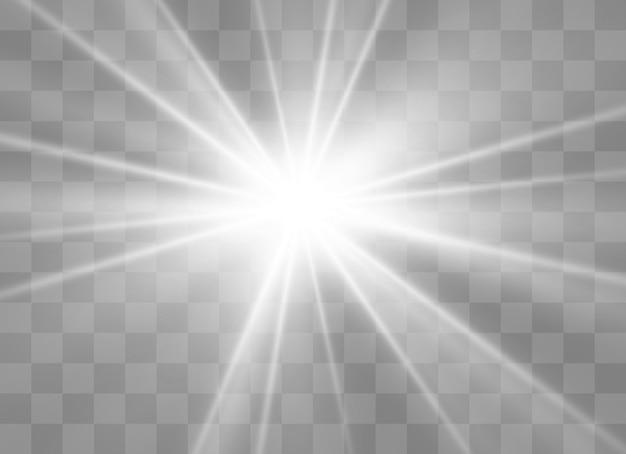 Efecto de luz brillante. la estrella estalló con destellos. ilustración
