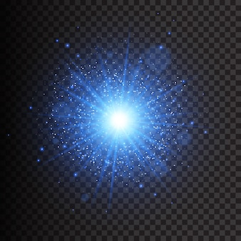Efecto de luz brillante. la estrella estalló con destellos. luces doradas brillantes