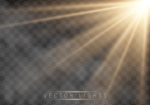 Efecto de luz brillante. la estrella estalló con destellos.