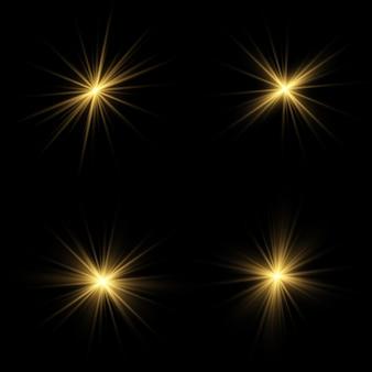 Efecto de luz brillante. estrella estalló con destellos.