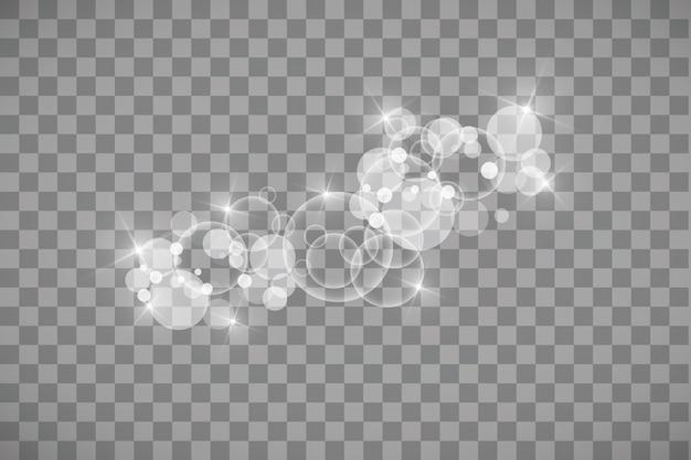 Efecto de luz brillante. . flash de navidad. polvo. efecto de luz especial de chispas blancas y purpurina. vector brilla sobre fondo transparente. partículas de polvo mágico espumoso.