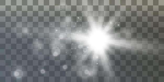 Efecto de luz brillante con muchas partículas de brillo aisladas sobre fondo transparente