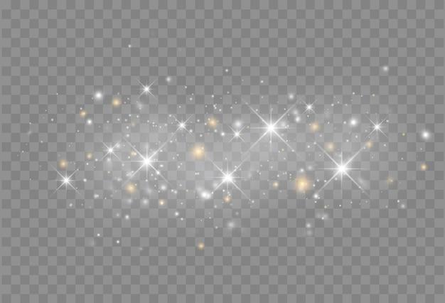 Efecto de luz brillante con partículas de brillo aisladas