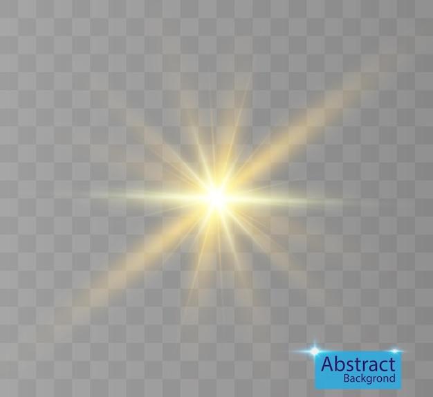 Efecto de luz brillante con reflejos.