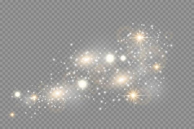 Efecto de luz brillante. sparkle aislado. partículas de polvo mágico espumoso.