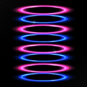 Efecto de luz círculo azul y morado.