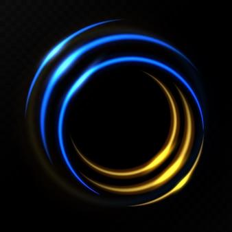 Efecto de luz círculo dorado y azul.