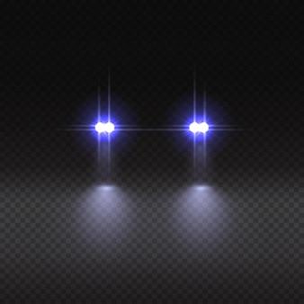 Efecto de luz de coche sobre fondo transparente.