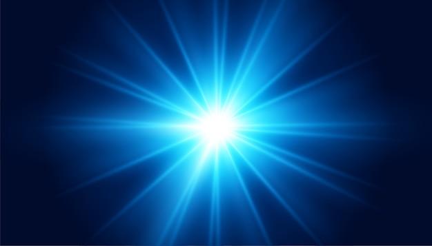 Efecto de luz de destello de lente azul brillante