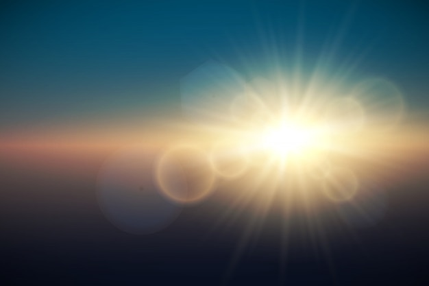 Efecto de luz de destello de lente especial de luz solar. ilustración vectorial