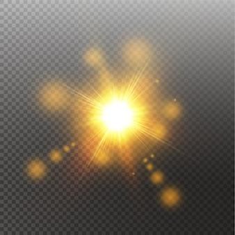 Efecto de luz de destello de lente especial de luz solar. sol aislado