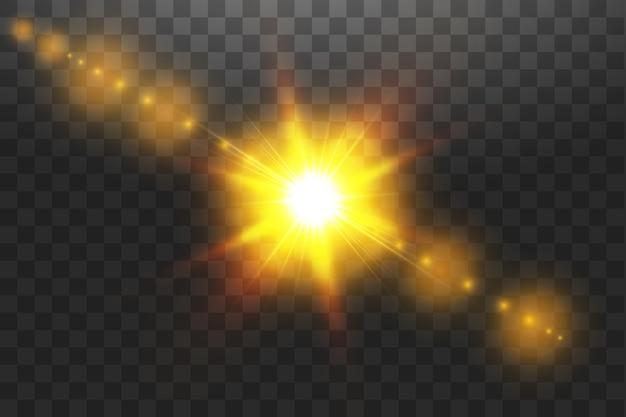 Efecto de luz de destello de lente especial de luz solar transparente. sol aislado sobre fondo transparente. efecto de luz brillante.