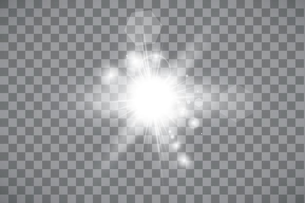 Efecto de luz de destello de lente especial de luz solar transparente. sol sobre fondo transparente. efecto de luz brillante.