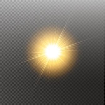 Efecto de luz de destello de lente especial de luz solar transparente de vector. sol aislado. efecto de luz brillante.