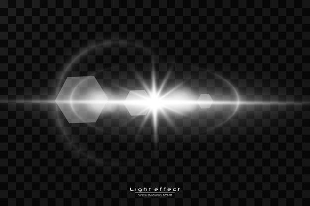 Efecto de luz de destello de lente especial de luz solar transparente de vector.