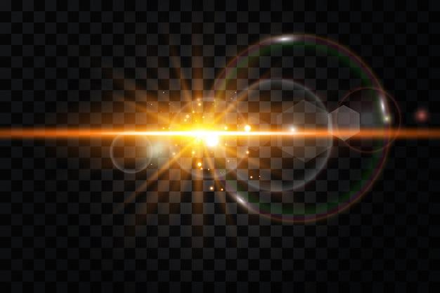 Efecto de luz de destello de lente especial de luz solar transparente de vector