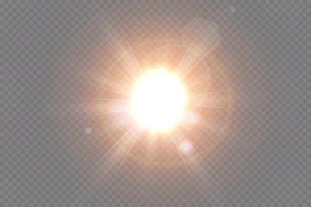 Efecto de luz de destello de lente especial de luz solar transparente