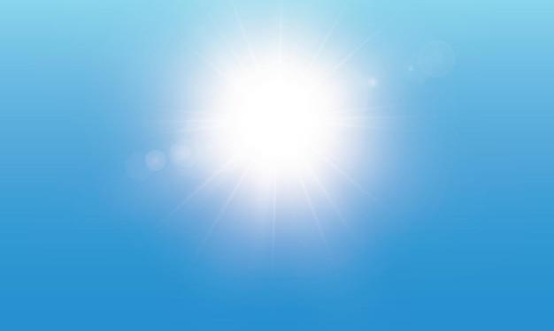Efecto de luz de destello de lente especial de luz solar transparente.