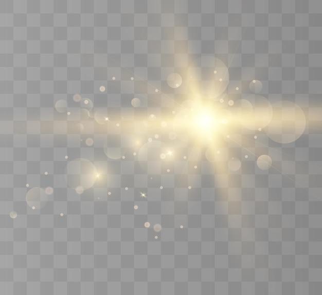 Efecto de luz de destello de lente el flash parpadea con rayos y reflector