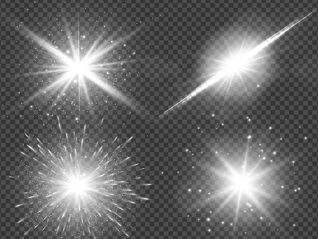 Efecto de luz de destello de lente de luz solar transparente. estrella estalló con destellos. ilustración