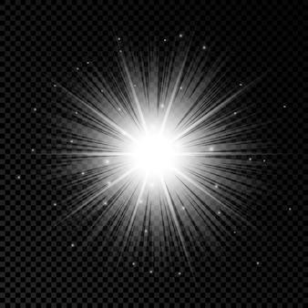 Efecto de luz de destellos de lente. efectos de starburst de luces blancas brillantes con destellos sobre un fondo transparente. ilustración vectorial