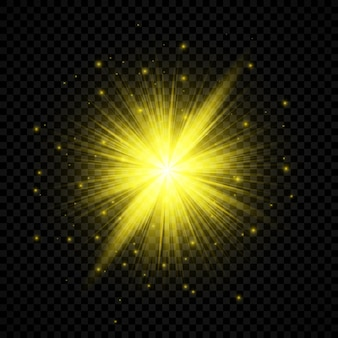 Efecto de luz de destellos de lente. efectos de starburst de luces brillantes amarillas con destellos sobre un fondo transparente. ilustración vectorial