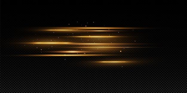 Efecto de luz dorada. resumen rayos láser de luz. caóticos rayos de luz de neón.