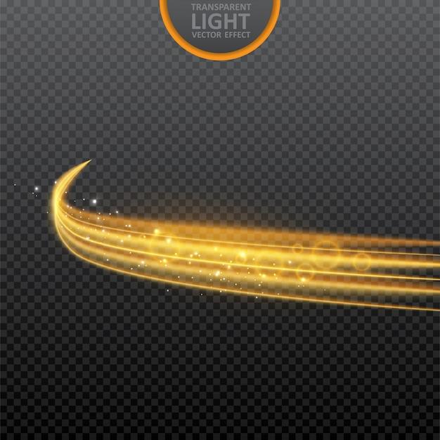 Efecto de luz dorada sobre transparente con destellos realistas.